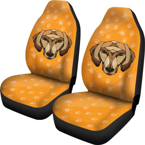 Dachshund Face Orange Car Seat Covers
