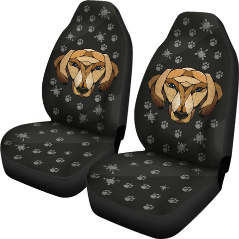 Dachshund Face Black Car Seat Covers