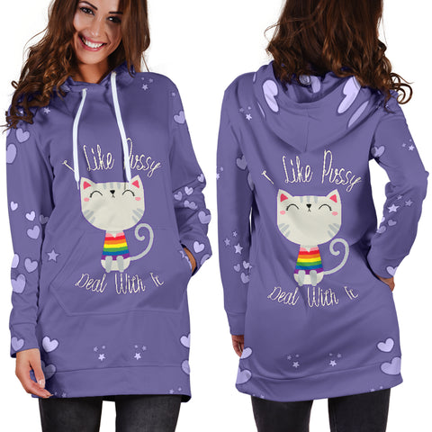 I Like Pussy Deal With It Hoodie Dress