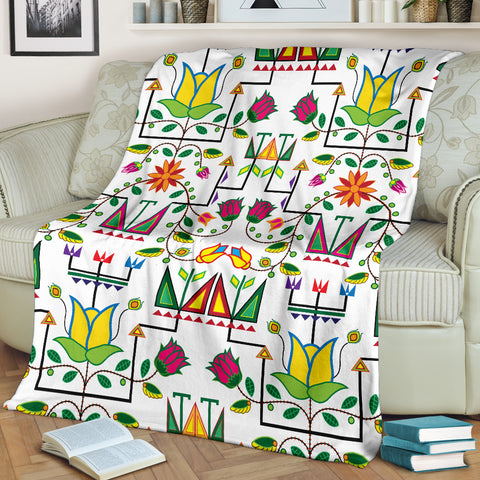 Geometric Floral Summer-White Ultra-Soft Micro Fleece Premium Blanket