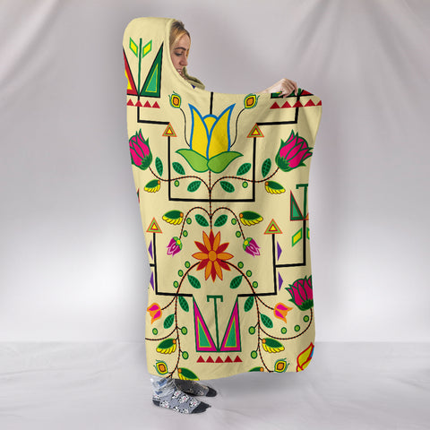 Image of Geometric Floral Summer Hooded Blanket Vanilla