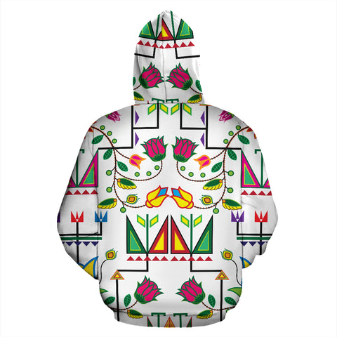 Geometric Floral Summer-White Sokapi Zipper Hoodie