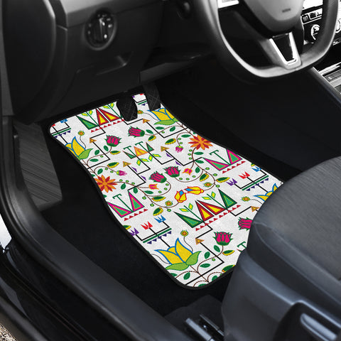 Image of Geometric Floral Summer-White Set of 2 Car Mats