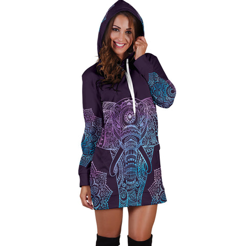 Image of Elephant Mandala Hoodie Dress