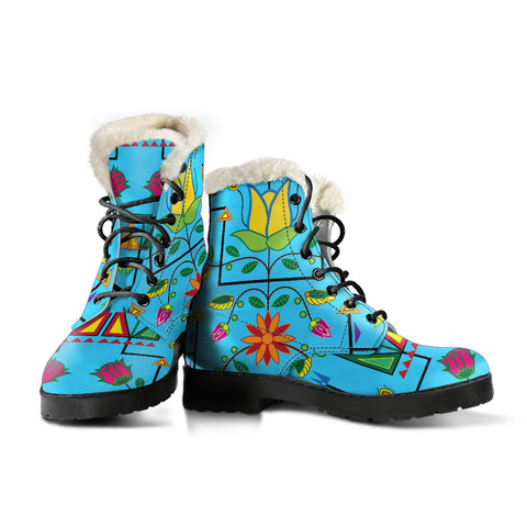 Image of Geometric Floral Summer-Sky Blue Faux Fur Leather Boots