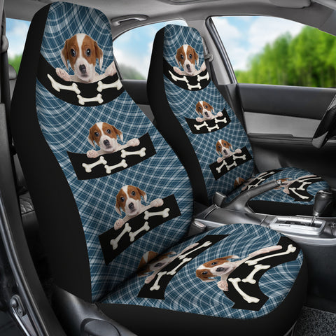 Cute puppy with the bone Car Seat Cover