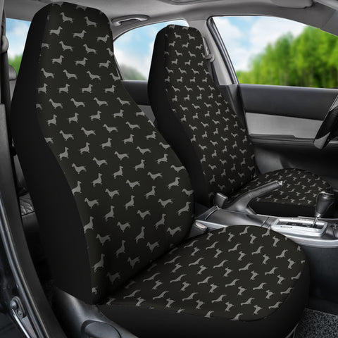 Dachshund Pattern Black Car Seat Covers