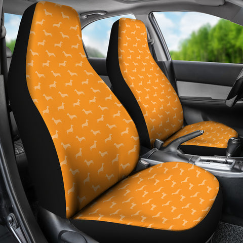 Image of Dachshund Pattern Orange Car Seat Covers