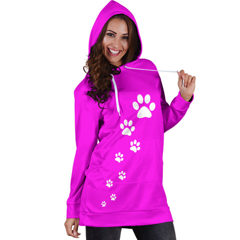 Women's paw prints hoodie dress-Pink