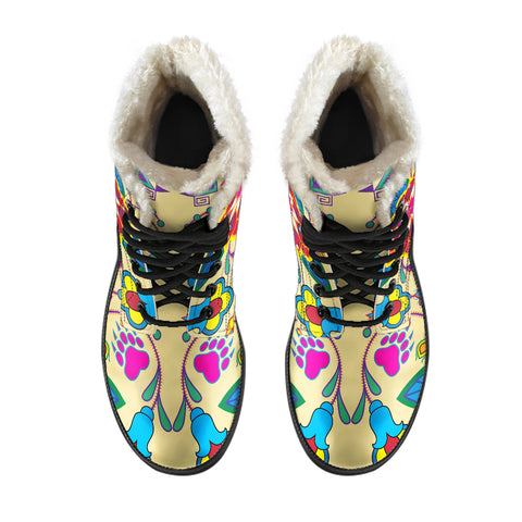 Image of Geometric Floral Winter-Vanilla Faux Fur Leather Boots