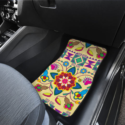 Image of Geometric Floral Winter-Vanilla Set of 4 Car Mats