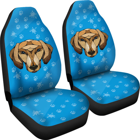 Image of Dachshund Face Blue Car Seat Covers
