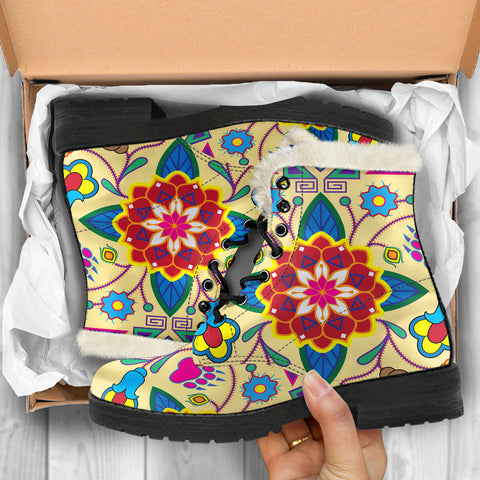 Geometric Floral Winter-Vanilla Faux Fur Leather Boots