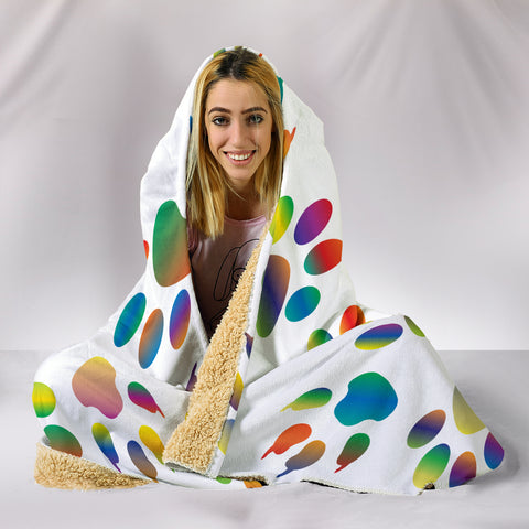 Colorful Paws Hooded Blanket