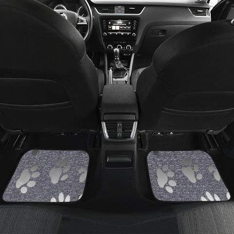 Image of Silver bones and paws cute Car Floor Mat
