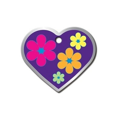 Flower Power Heart ID Tag