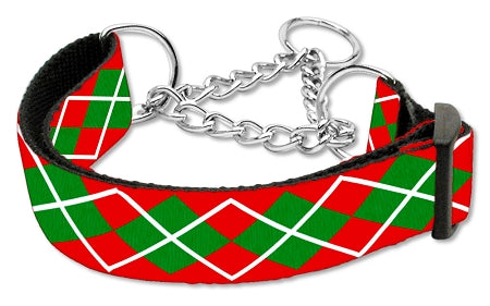 Image of Christmas Argyle Nylon Ribbon Collar Martingale Large