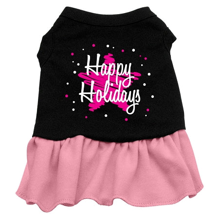 Scribble Happy Holidays Screen Print Dress Black with Pink Sm (10)