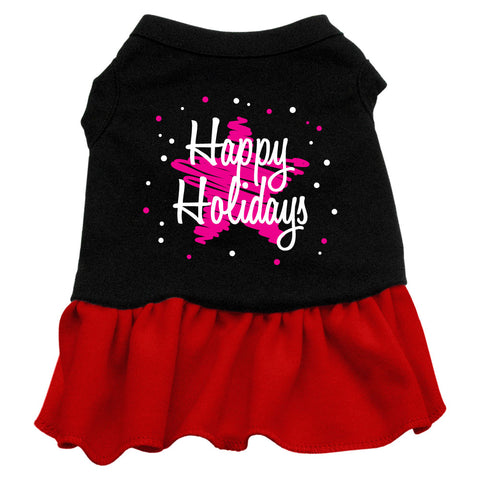 Scribble Happy Holidays Screen Print Dress Black with Red Sm (10)