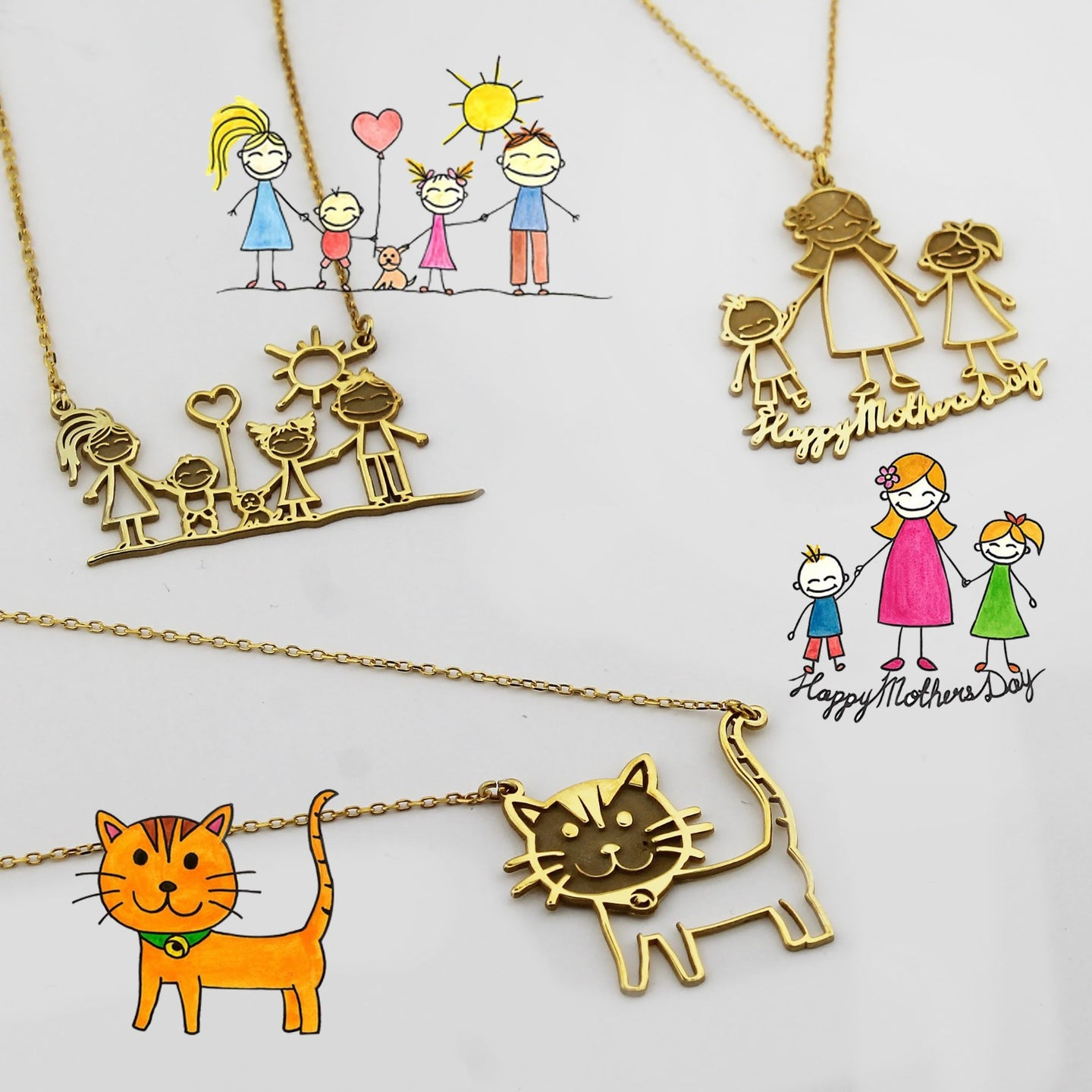 Actual Kids Drawing Necklace  Children Artwork Necklace  Family Memorial Necklace Kid Art Gift  Personalized Necklace  Special Gift for Mom