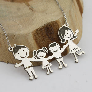 Family Figures Necklace Family Members Necklace Custom Family Members Name Necklace Personalized Gift Necklace