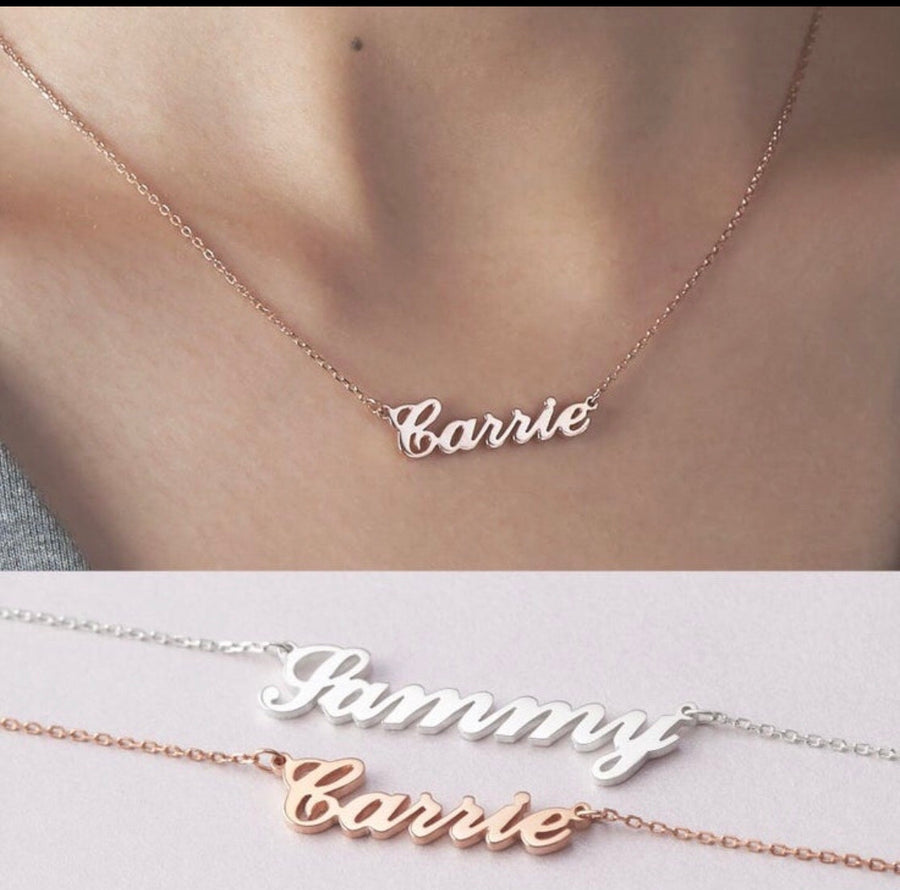 925 Sterling Silver Name Necklace - Custom Word Necklace