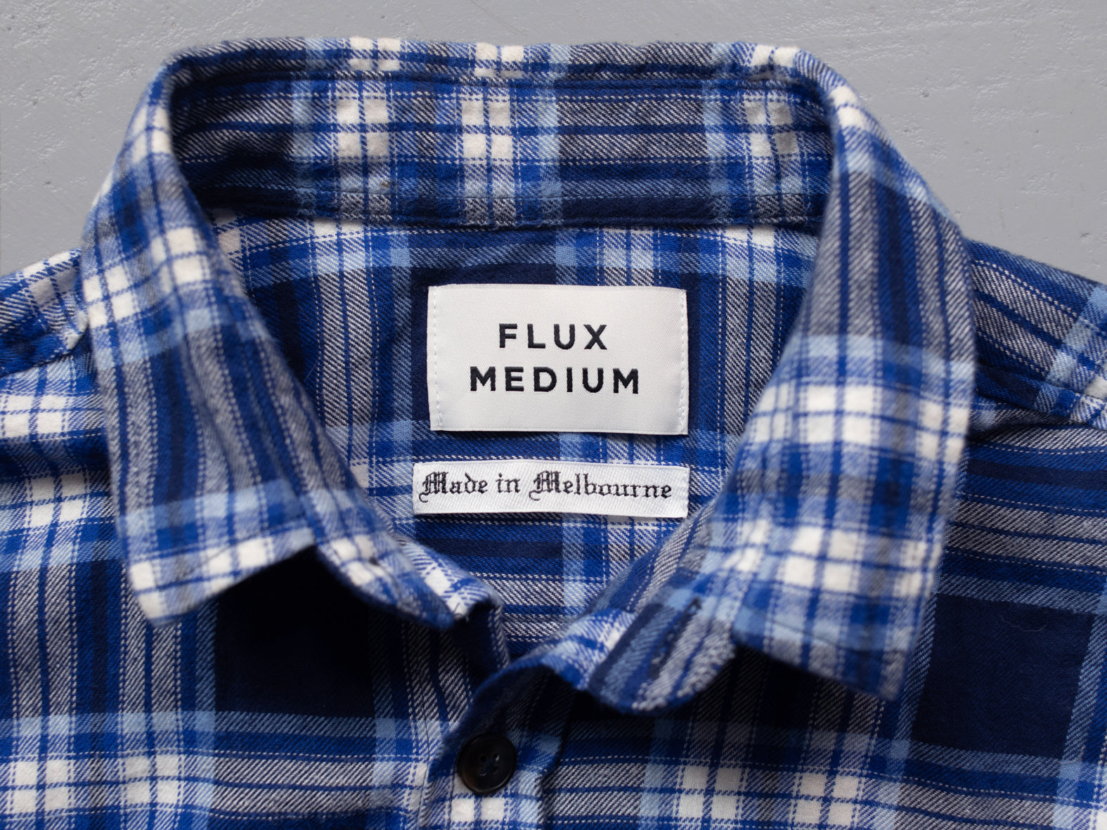 FOUNDRY. BLUE CHECK FLANNY.