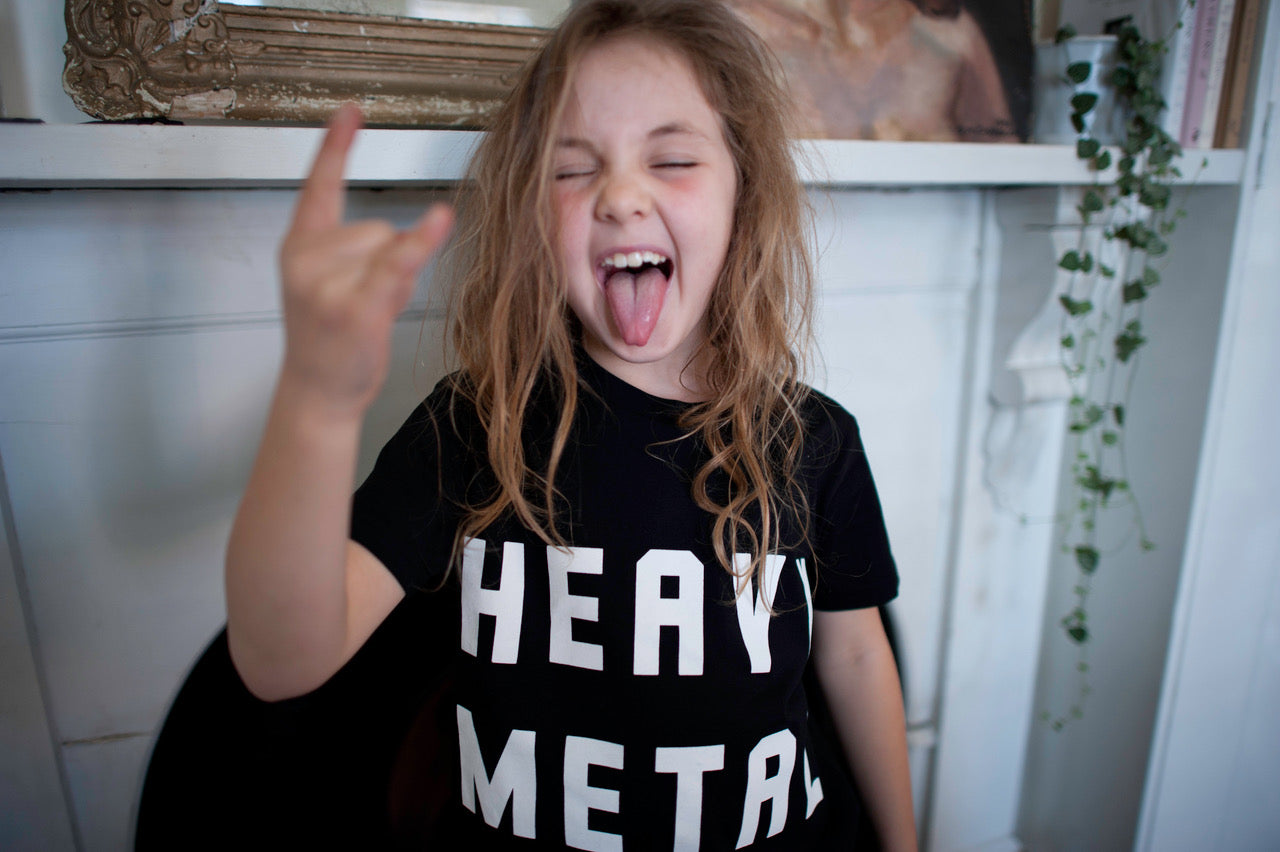 'EAVY METAL. KIDS FADED BLACK TEE