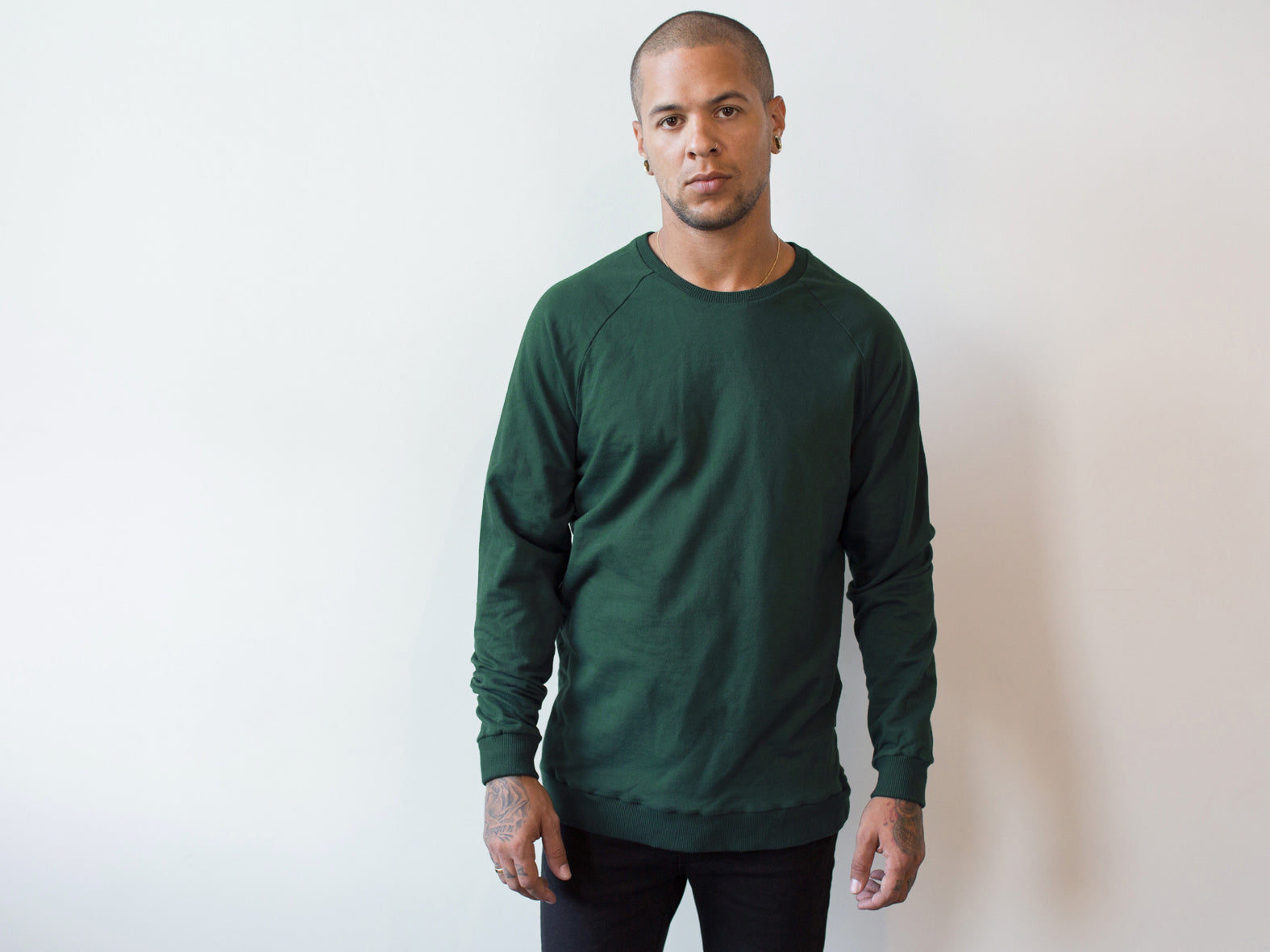 RAGLAN SWEATER. FOREST.