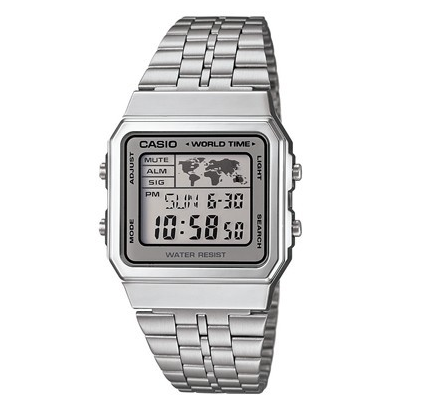 CASIO - DIGITAL, SQUARE LED, ALARM, S/W SILVER/GRY