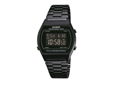 CASIO - LED 1/100 S/WATCH 50 WR, BLK METAL BAND