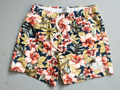 HAWAIIAN FLORAL SHORTS. NAVY.