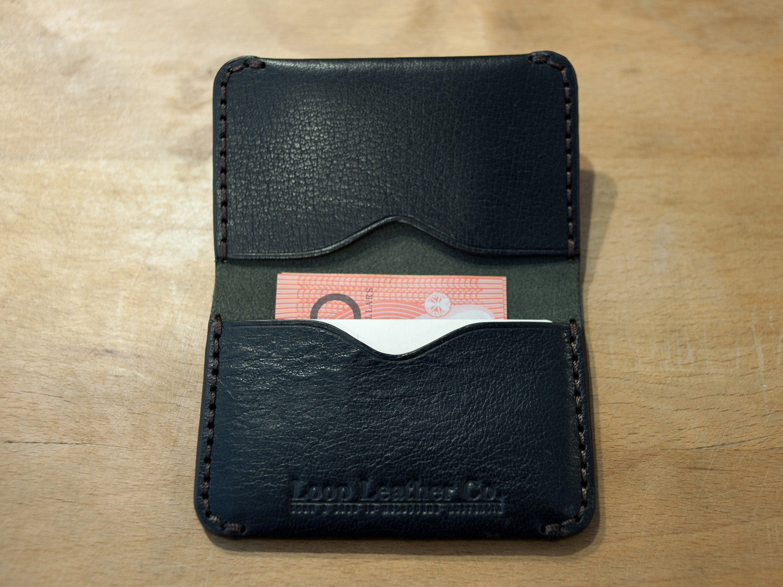 LOOP HANDMADE BI FOLD CARD HOLDER - BLACK