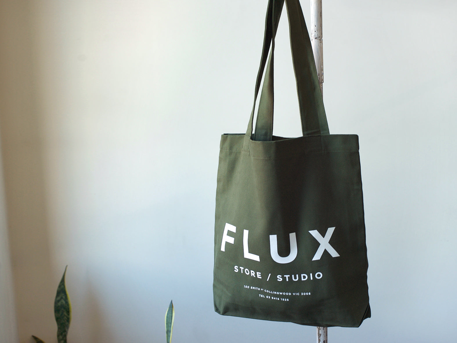 FLUX STORE / STUDIO. CANVAS TOTE. ARMY