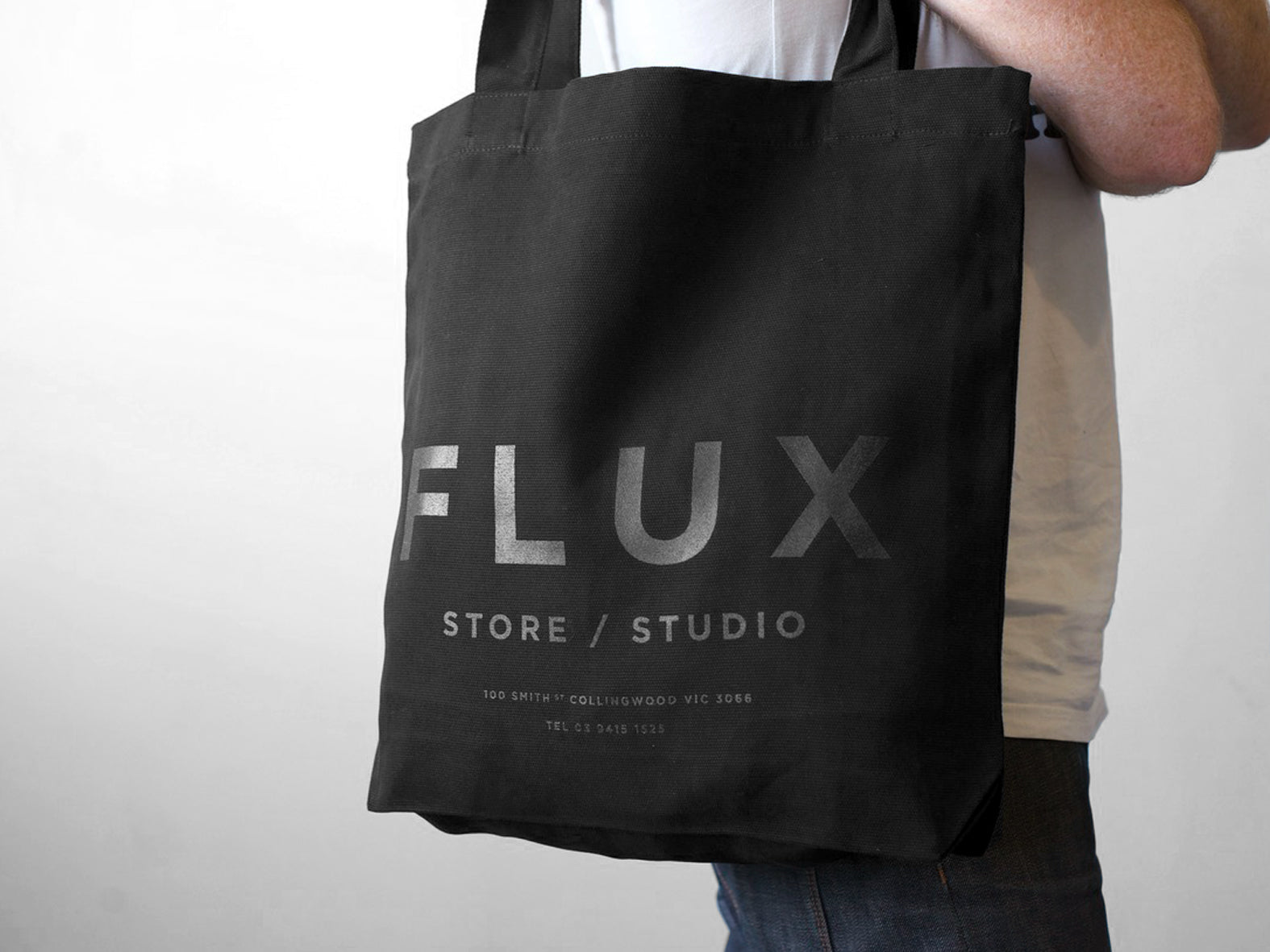 FLUX STORE / STUDIO. BLACK ON BLACK CANVAS TOTE