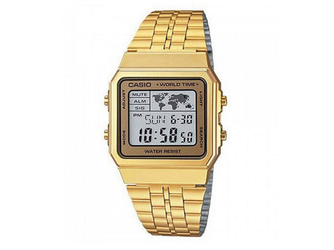 CASIO - DIGITAL, SQUARE LED, ALARM, S/W GOLD/GOLD