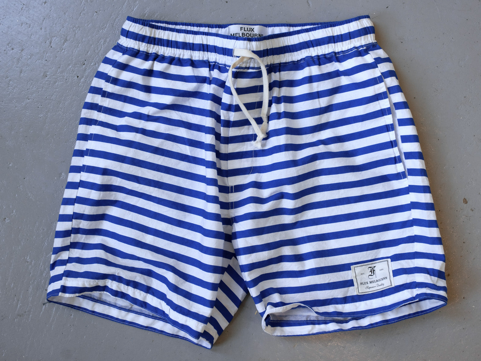RIVIERA - Royal Blue striped shorts.