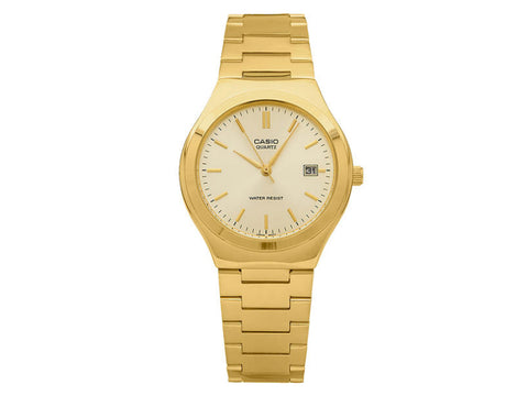 CASIO - GENTS ANALOG WR GOLD FACE, GOLD S/STEEL BAND DATE