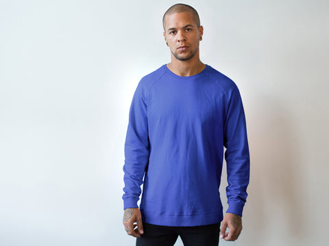 RAGLAN SWEATER. ROYAL BLUE.