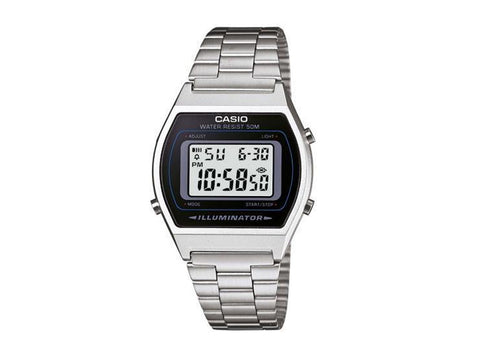 CASIO - LED 1/100 S/WATCH ALARM, 5OM WR. S STEEL BAND