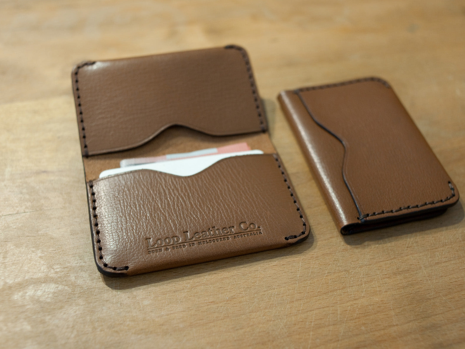 LOOP HANDMADE BI FOLD CARD HOLDER - TAN
