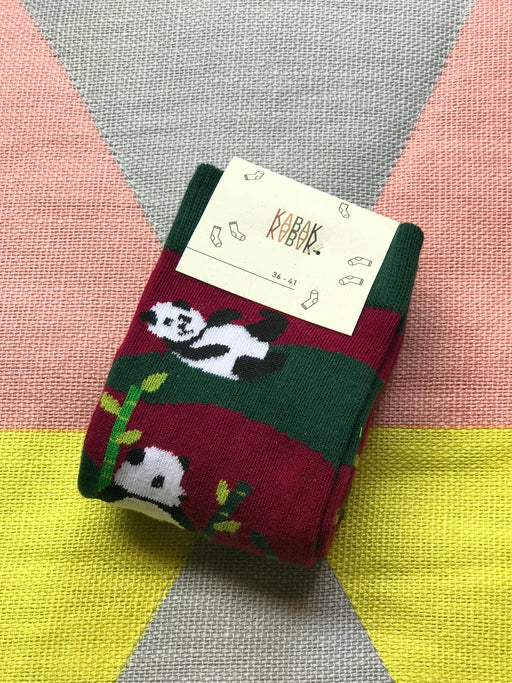 Playful Pandas Socks Burgundy