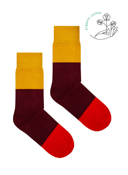 Tricolor Socks Mustard Burgundy Red