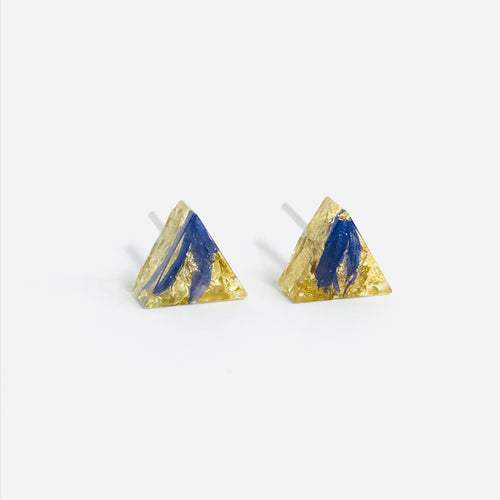 Blue and Gold resin triangle stud earrings