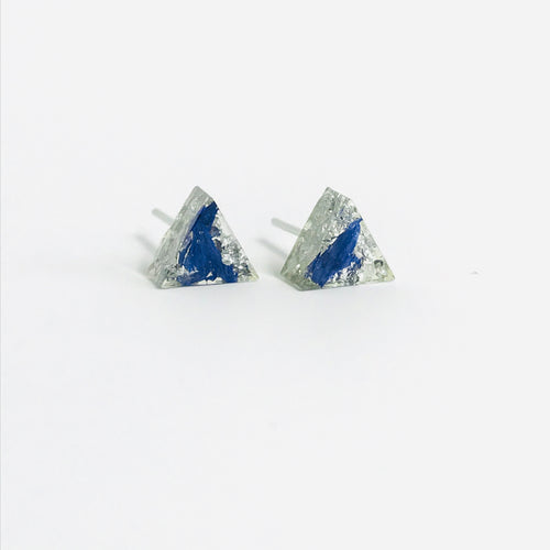 Blue and Silver triangle resin stud earrings