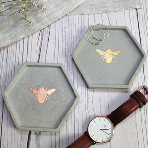 Concrete Hexagon Bee Trinket Dish