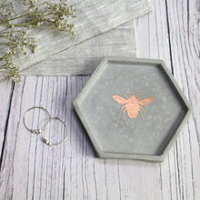 Load image into Gallery viewer, Concrete Hexagon Bee Trinket Dish
