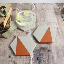 Load image into Gallery viewer, Copper Concrete Hexagon Coasters