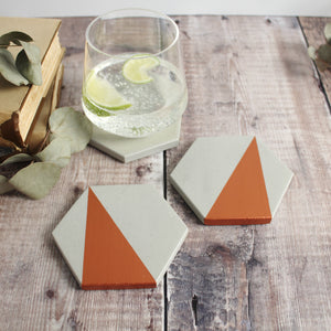 Copper Concrete Hexagon Coasters