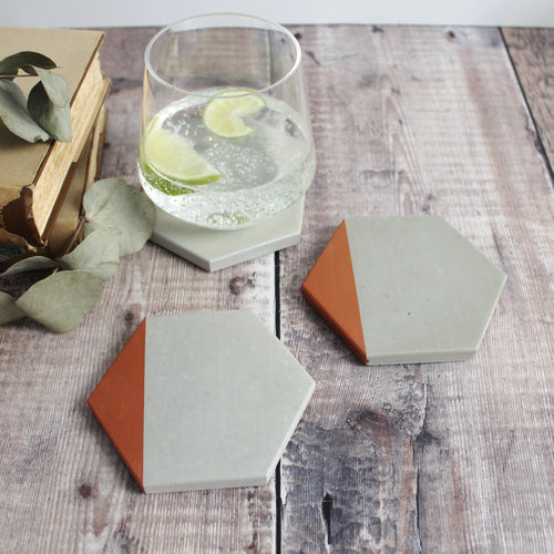 Copper Edge Concrete Hexagon Coasters
